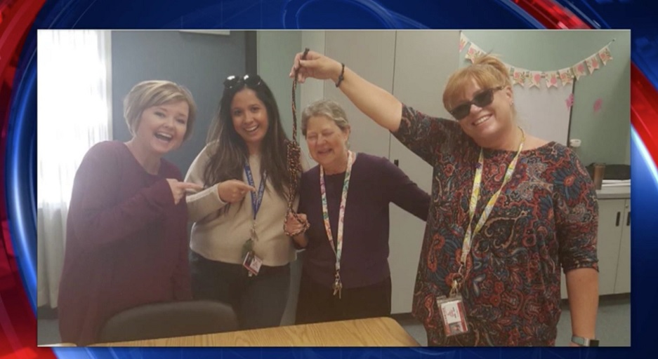 Educators at Summerwind Elementary School in Palmdale, California posed with a noose in a photo. (Screenshot: Fox 11)