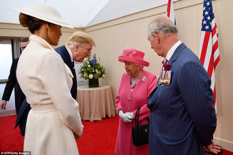 The President told the Queen: 'It was a great honour to be with you' and was heard saying: 'Great woman. Great, great woman' after saying farewell. (Credit: AFP/Getty)