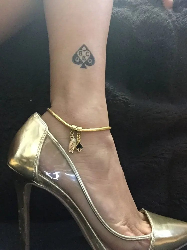 Queen of Spades: Anklets and Tattoos - image  on https://blackcockcult.com