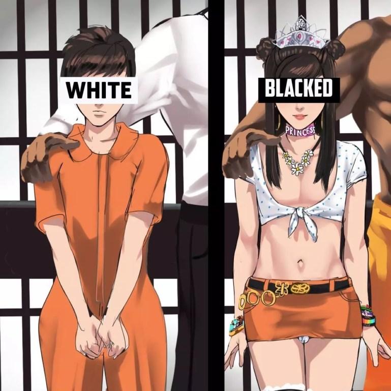 Sissy Hentai: Artwork of Whitebois Blacked - image  on https://blackcockcult.com