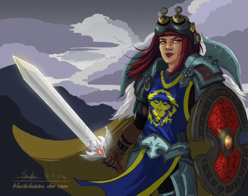 Defender - World of Warcraft Warrior Fan Art by Blackdaisies