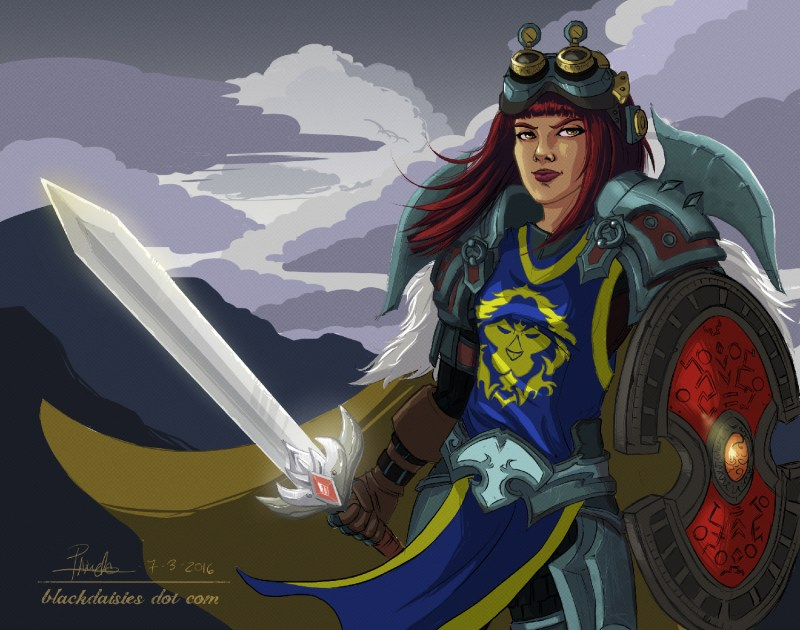 Defender - World of Warcraft Warrior Fan Art by Blackdaisies