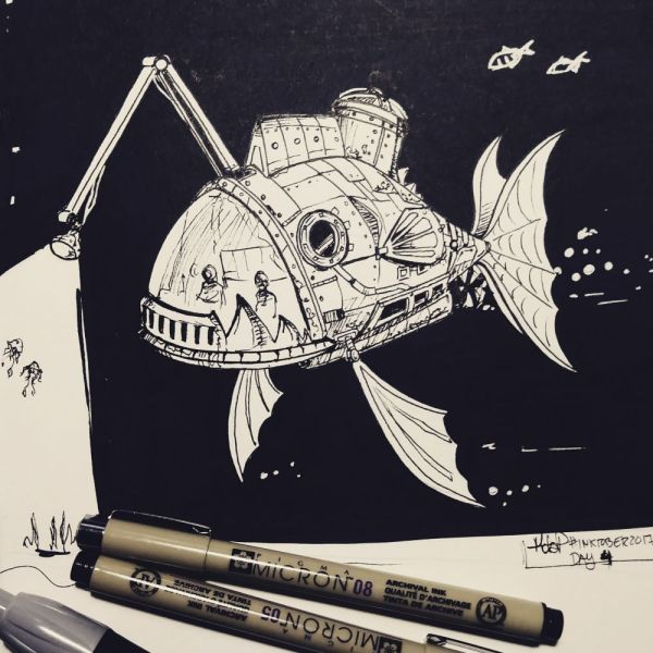 Inktober Day 4 Submarine by blackdaisies