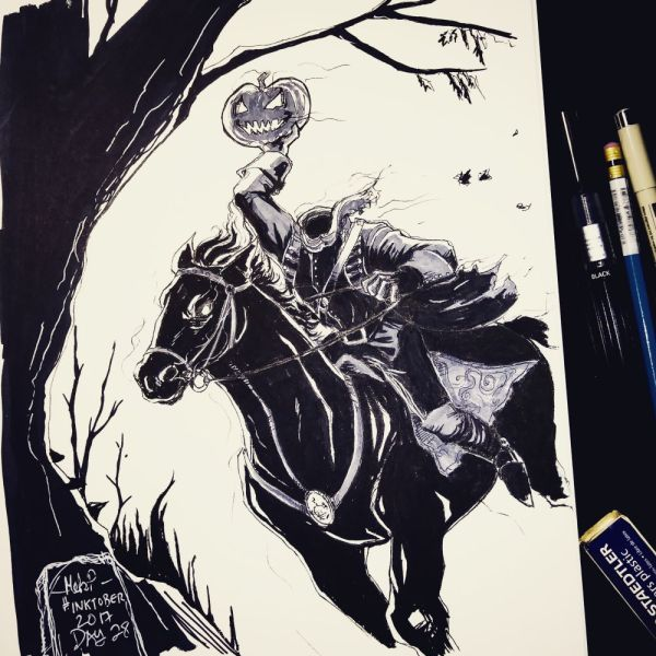 Inktober 2017 Day 28 The Horseman by blackdaisies