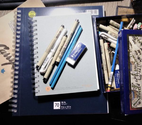 Inktober 2017 drawing supplies