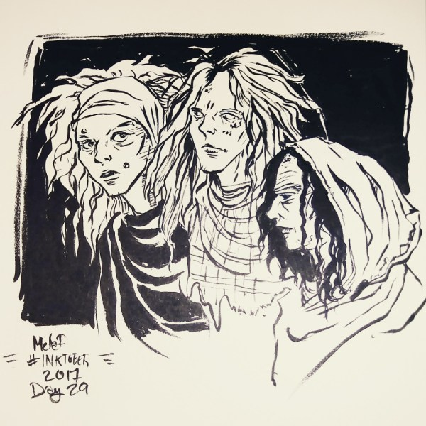 Inktober 2017 Day 29 Three Witches by Blackdaisies