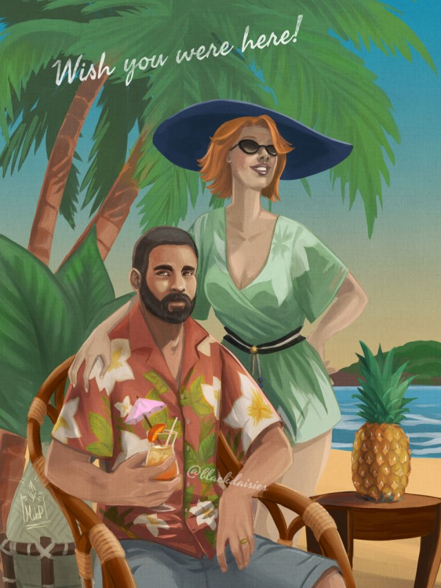 Illustration in retro vacation poster style of Bob and Eliza Pancakes, characters from the Sims 4 franchies. Fan art by blackdaisies