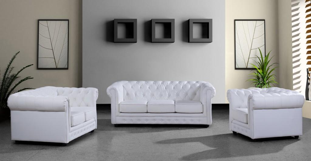 Paris 3 Modern White Leather Sectional Sofa