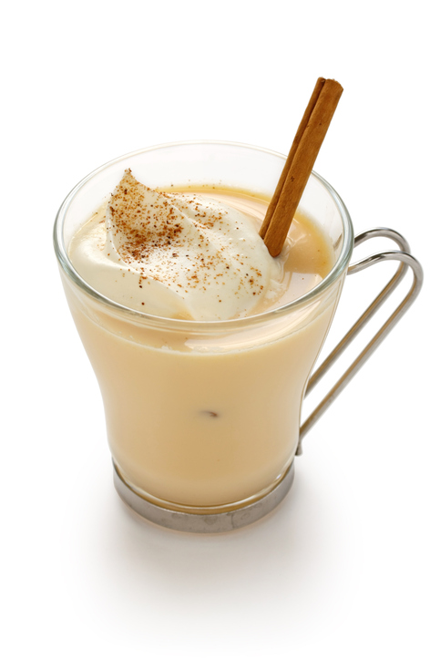 eggnog on white background