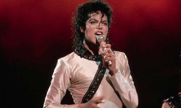 Michael Jackson performing in at a concert
