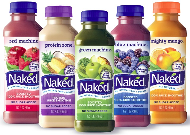 A row of different types of Naked Juice