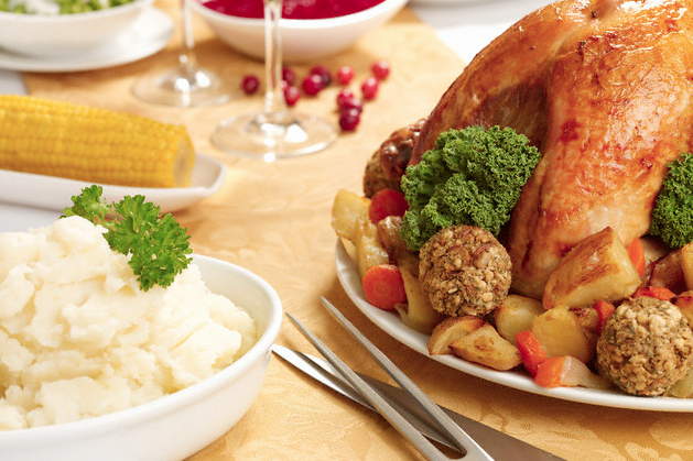 A table filled with Thanksgiving foods