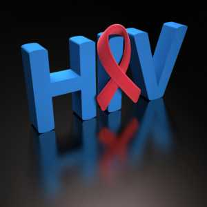 red ribbon in front of HIV pic
