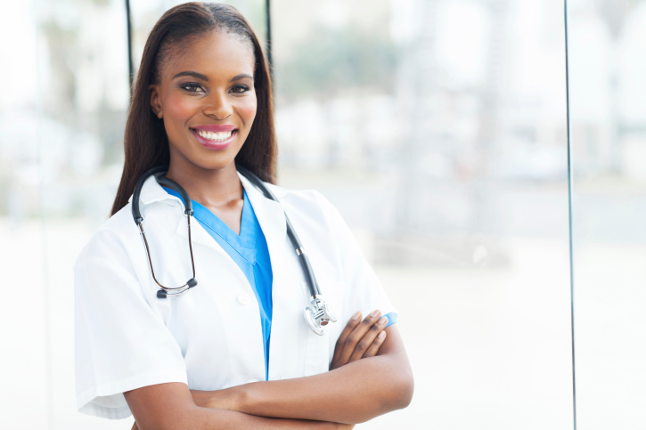 female african american doctor with arms crossed
