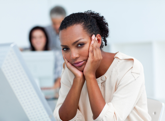 woman at work stressed
