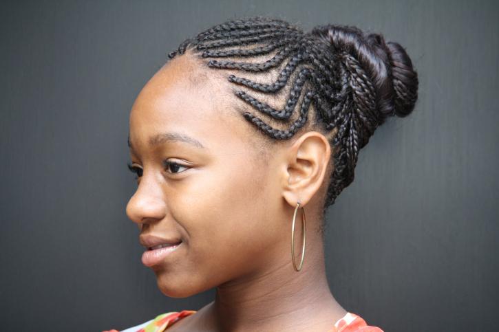 girl with braided bun
