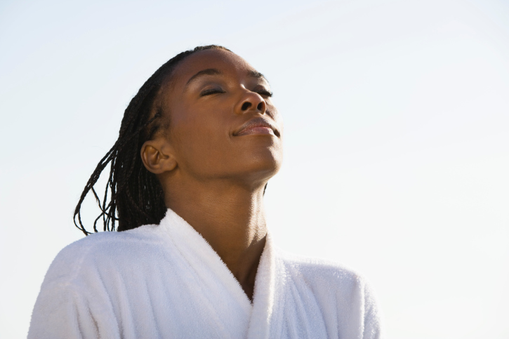 African American Black woman relaxed