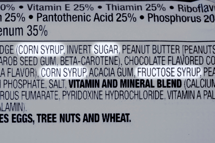 ingredient label with lots of sugar