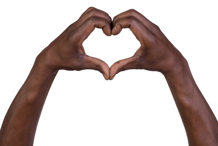 Black hands in the shape of a heart