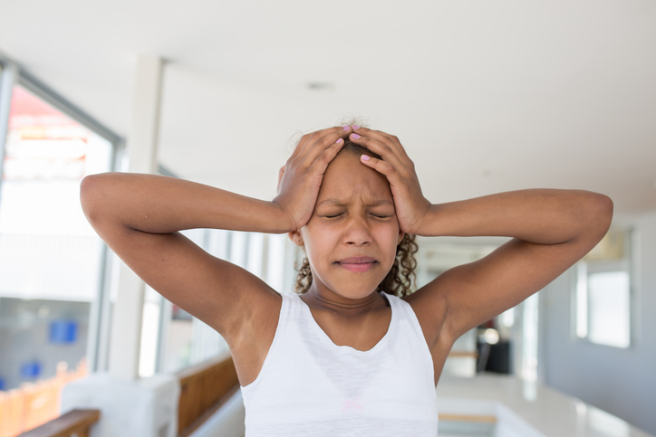 African American girl stressed frustrated
