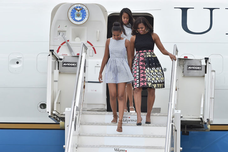 Michelle Obama with daughters