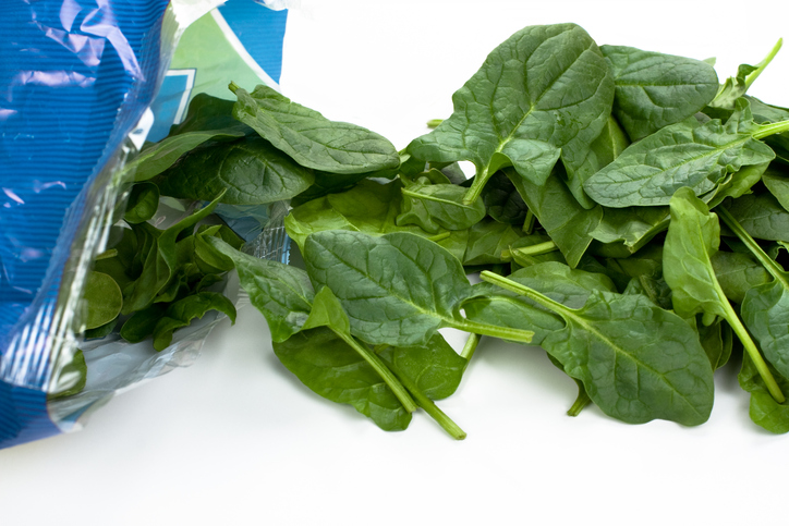 Fresh spinach out of the plastic package.