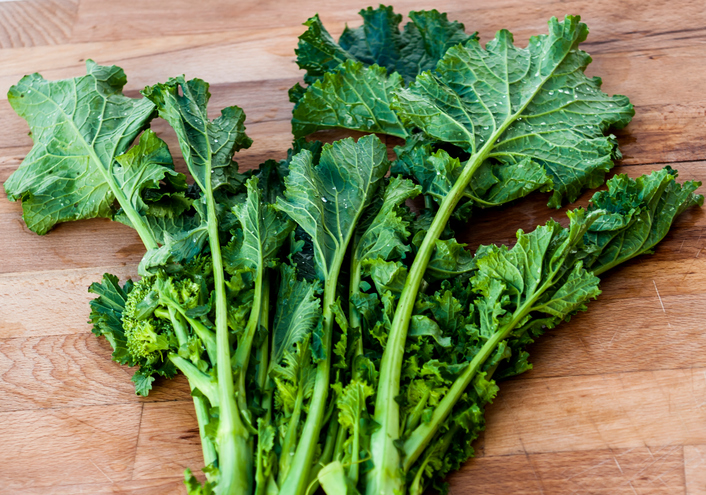 "Bunch of vibrant green turnip ""cime di rapa"". Italian cuisine"