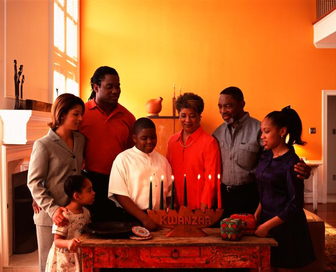 Family celebrating Kwanzaa