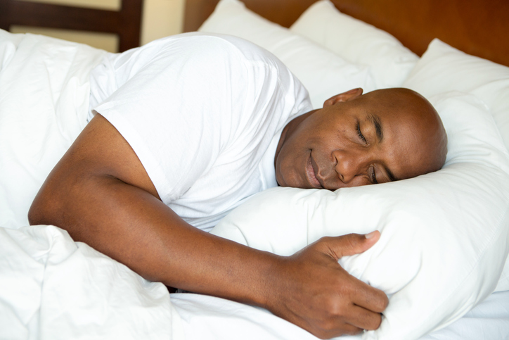 African American man sleeping