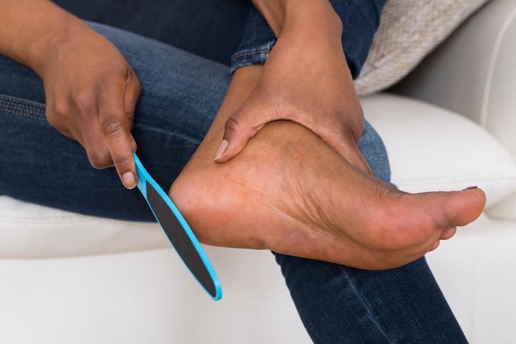 African American woman pedicure