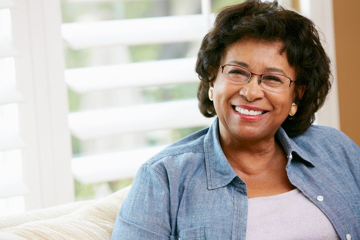 African American senior woman happy smiling