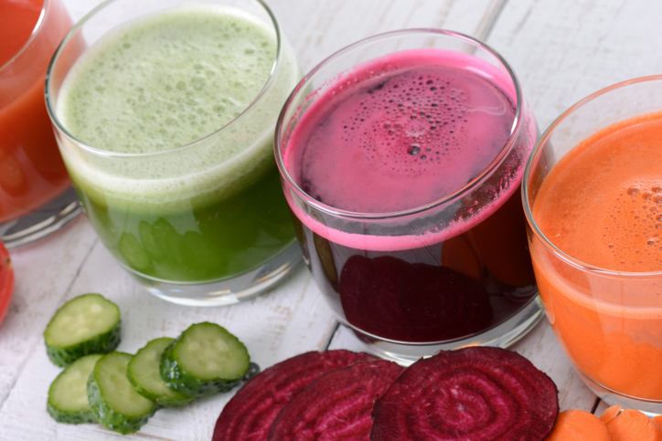 assorted fresh vegetable juices