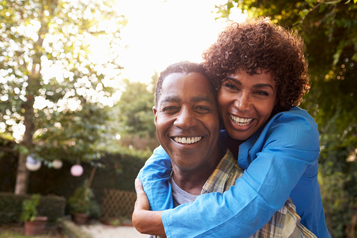 Older African American couple happy