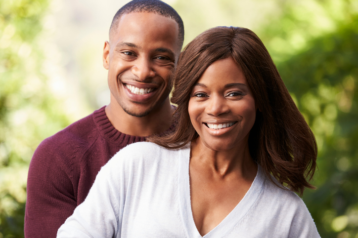 African American couple happy