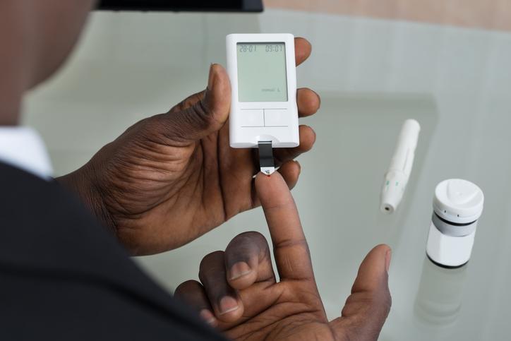 African American man diabetes testing