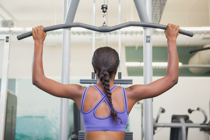 African American woman strength training