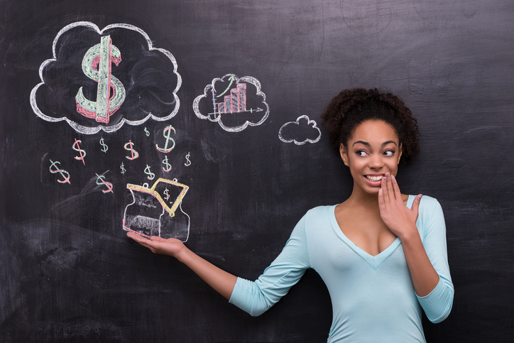 African American woman thinking about money