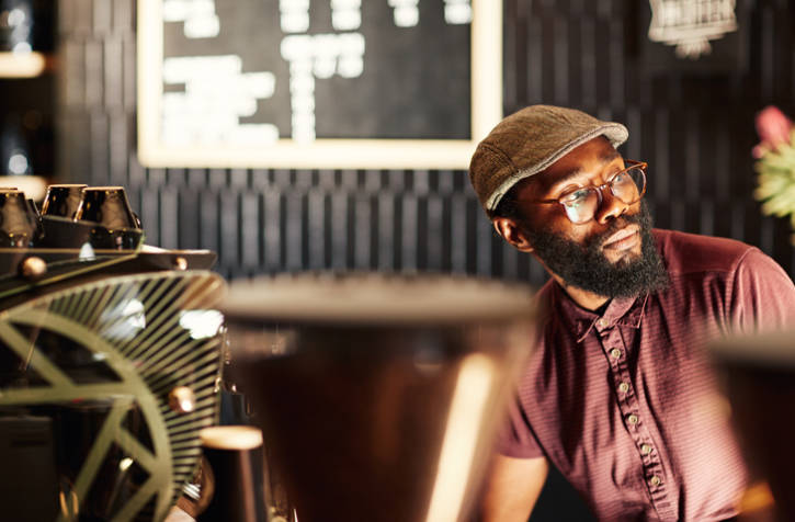 African American man coffee shop beard