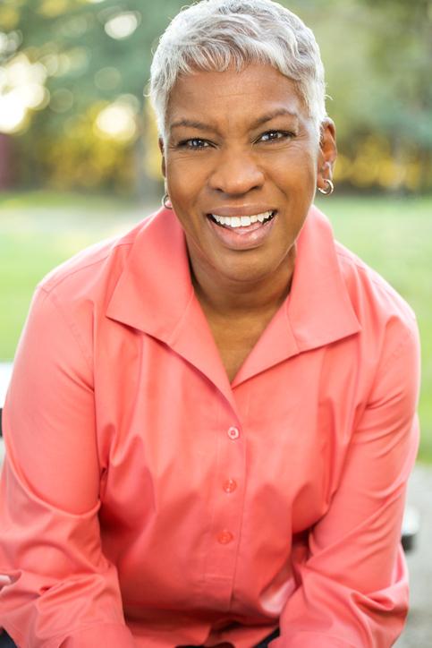 African American woman grey hair