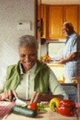 aging couple eating healthy