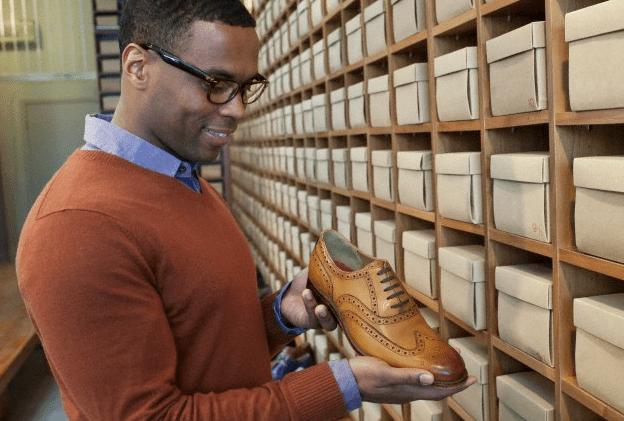 A man shoe shopping