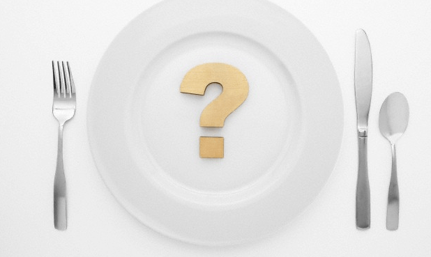 A plate with a question mark on it