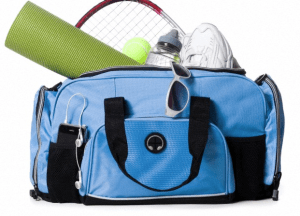 A blue gym bag