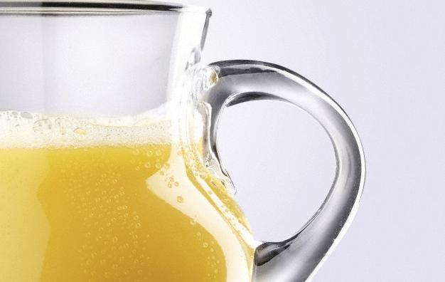 A close-up shot of orange juice
