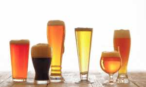 Different glasses of different types of beer