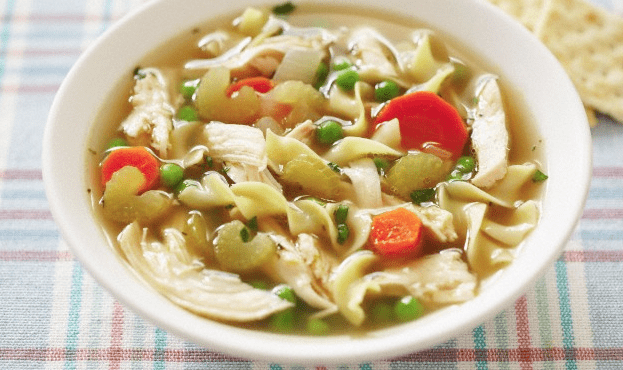 A bowl of chicken noodle soup
