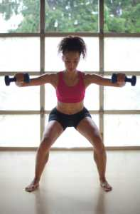 woman doing lateral press