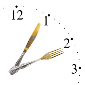 clock with hands that are made of fork and knife