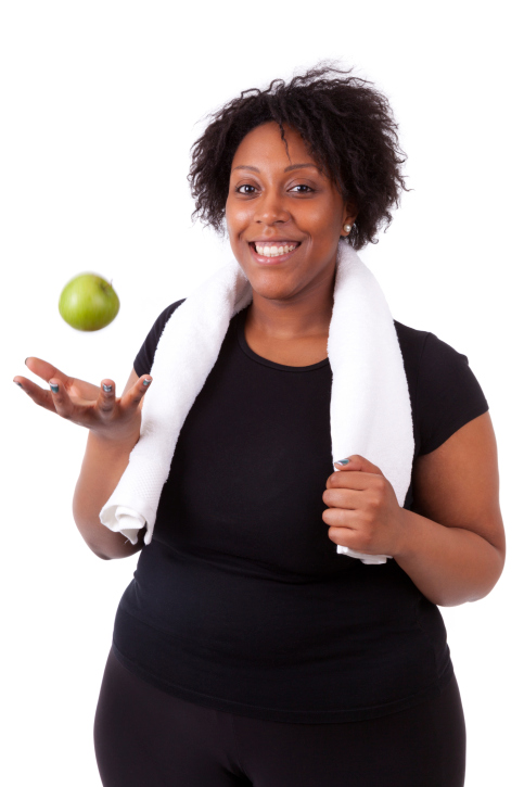 African american woman fruit fitness