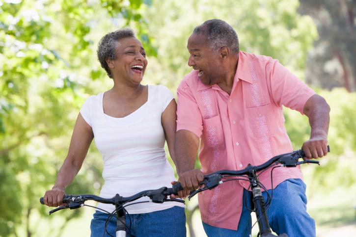 african american senior couple fitness